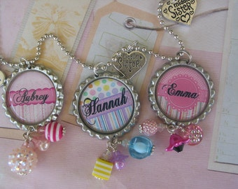 Personalized Bottle cap Necklace, Pendant Little , Medium and Big Sister, price is for one