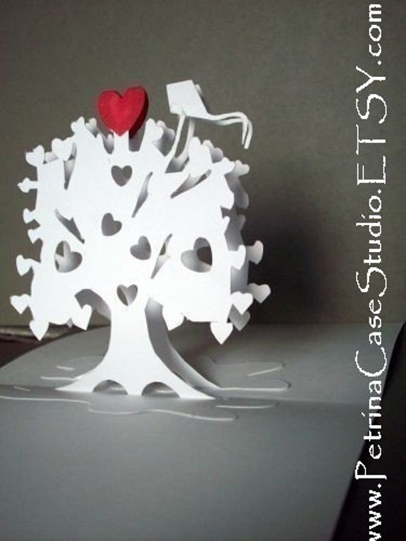 Heart Tree & Kite...Pop Up Card Art Paper Sculpture -ITEM 7810