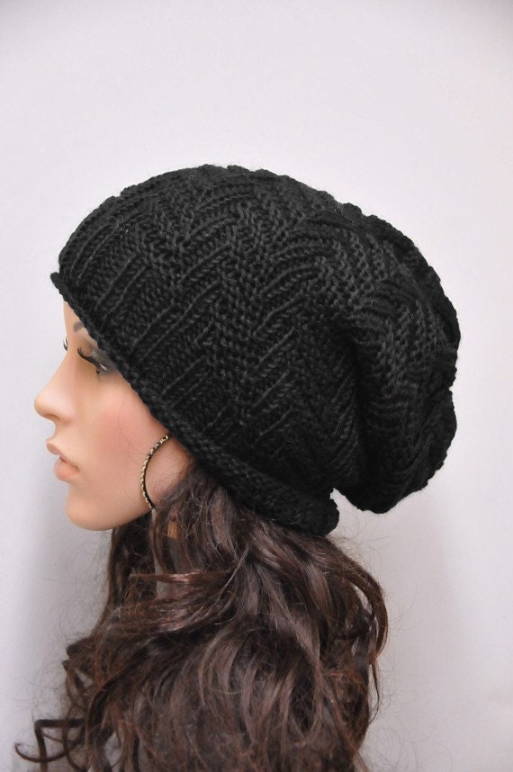 Hand knit hat woman man unisex Chunky Hat Black wool hat