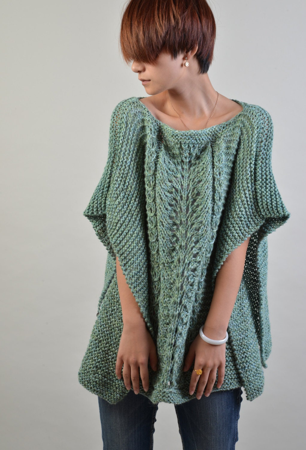 Knitting Ponchos : Hand knitted poncho capelet in fall green ready to ship