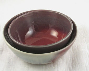 Ceramic Bowls - Nesting Bowl Set - Red and Purple - Wheel Thrown Serving Bowl - Stoneware Soup Bowl - Pottery Bowls