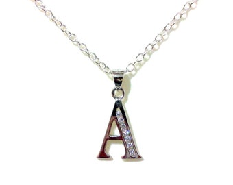 Letter A Initial Necklace, Bridal Necklace, Alphabet Jewelry, Cz Letter Pendant, Personalized Jewelry