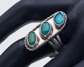 3 Stone Navajo Pawn Ring -  Native American Turquoise Sterling - sz 8 1/2 - Best Buy