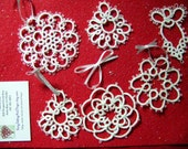 White Snowflakes and Angels Christmas Ornament Set ShuttleTatted with #10 Crochet Thread Stiff and Glittered