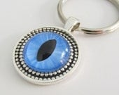 Hand Painted Cat Eye Key Chain Blue