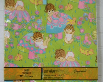 Vintage Baby Shower Wrapping Paper Gift Wrap Retro Mushrooms Babies NIP NOS