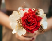 Red Burlap & Vintage Book Page Flower Bouquet - Rustic Wedding - Made to Order (Bridesmaid, Toss Bouquet)