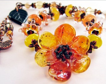 SALE 25% OFF, Brown Eyed Susan Flower Bracelet, Lampwork Glass Orange Yellow Black, Antiqued Copper, Gift Box, Ready To Ship