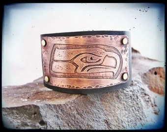 Seahawks Inspired Etched & Hammered Copper and Leather Cuff Bracelet- Unisex