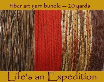 Rustic scrapbooking yarn samples supplies, spice colors, earth tones, gold brown rust orange tan fiber art bundle card 20 yds fall trim i700
