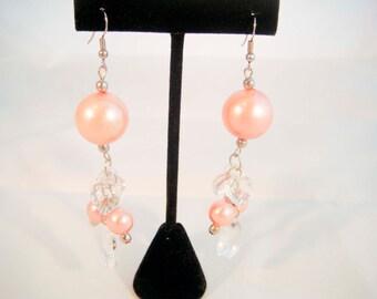 Peach Beads and Crystal Hearts Earrings