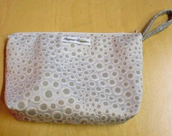 OOAK Silver Dot Zipper Pouch / Cosmetic Bag / Sewing Tool Bag