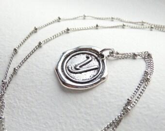 Antique Silver Wax Seal - Y - Monogram Necklace