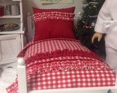 """Red and White comforter Set-18"""" doll size"""