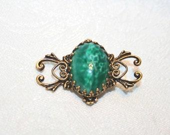 Green Art Glass and Filigree Brooch Vintage