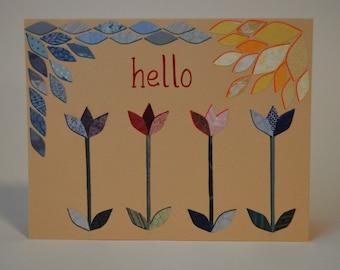 Hello Tulips Note Card, Original Hand Cut Vintage Wallpaper, OOAK, Handmade, Modern, Unique Applique Petals, Sunshine Flowers, Yellow Blue