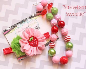 Baby headband or necklace { Strawberry Sweetie } Red, pink, green, First Birthday, summer beach, strawberry shortcake photography prop
