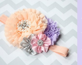 Birthday headband { Peachy Sweet } gray, pink, lavender, First Birthday, Vintage Spring summer Cake Smash flower headband photography prop