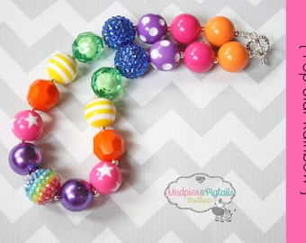 chunky necklace { Pop Star Rainbow }  First birthday, cake smash, Circus pageant, My lil Pony, toddler necklace photography prop