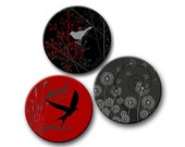 Round Birds Butterfly Dandelion Swirls Red Grey and Black 4 Digital Collage Sheets 12mm, 14mm, 16mm, 18mm