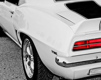 White Z28 Chevrolet Camaro Car Photography, Automotive, Auto Dealer, Muscle, Sports Car, Mechanic, Boys Room, Garage, Dealership Art
