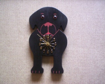 Black Lab wall clock, hand crafted and hand painted,   also pictured is my Doxie clock