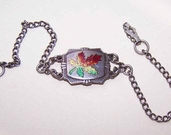 Vintage STERLING SILVER & Enamel Charm Bracelet - Maple Leaf Center