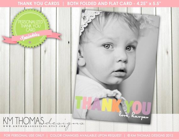 1st Birthday Photo Thank You Card Flat Thank You Card Folded