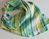 Hand Painted Silk Square Scarf - Hand Dyed Bandana Slate Blue Lime Green Chartreuse Tan Beige Cream Yellow Beach Sea Water Ocean