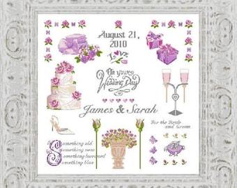 wedding sampler wedding cross stitchwedding giftpersonalizedhandmadediywall artwedding cakeneedlepointembroideryanette eriksson
