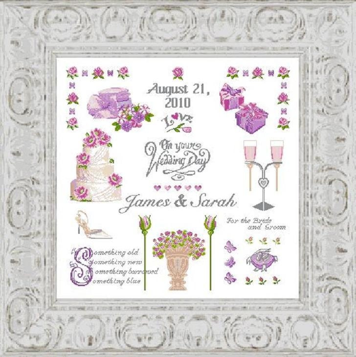 cross stitch pattern wedding sampler wedding cakewedding