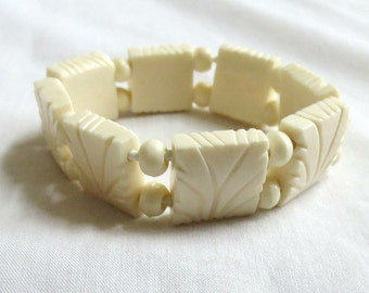 Vintage Ethnic Hand Carved Bone and Bead Stretch Bracelet