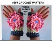 TEXTING gloves, FINGERLESS gloves, Crochet Pattern, Easy pattern, easy flower, make them any size, baby, children, women, teens, #653