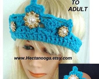 Crochet PATTERN num. 708 - Princess CROWN - TIARA, make newborn to adult sizes, Costume Play, Halloween, Theater , kids, teen