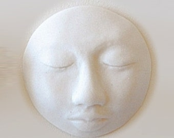 White Moon or Sun Face - Bisque Porcelain Craft Supply Cab