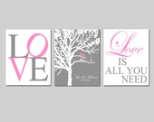 Family Love Wedding Tree - Set of Three 8x10 Prints - Love Is All You Need - GREAT WEDDING GIFT - Choose Your Colors