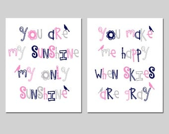 You Are My Sunshine, My Only Sunshine - Baby Birds - Set of Two Nursery Art Prints - CHOOSE YOUR COLORS - Light Pink, Navy Blue, Gray