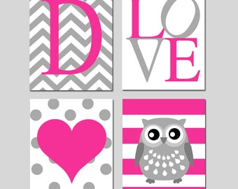Baby Girl Nursery Art Nursery Decor - Chevron Initial, LOVE, Polka Dot Heart, Striped Owl - Set of 4 Prints - Choose Your Colors