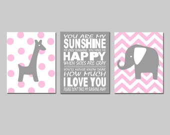 Pink Gray Nursery Art Trio - You Are My Sunshine, Chevron Elephant, Polka Dot Giraffe - Set of Three 8x10 Prints - CHOOSE YOUR COLORS