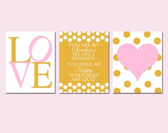 Pink and Gold Nursery Art Trio - Set of 3 Prints - You Are My Sunshine, Love, Polka Dot Heart - Kids Wall Art - Choose Your Colors