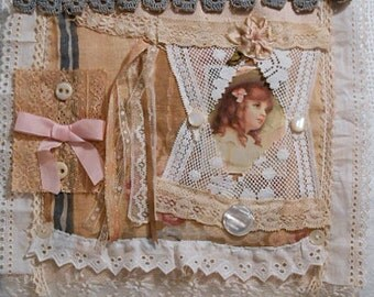 Lovely GIRLIE FABRIC COLLAGE Vintage Laces Trim & Buttons on Soft Pink Linen, Sweet Pastel Wall Decor, Nostalgic Keepsake Pretty Lady Gift