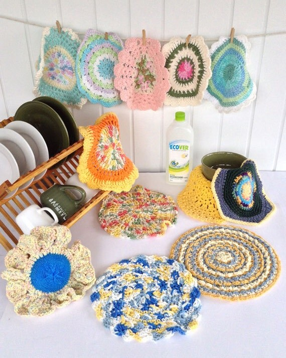 Crochet Patterns In The Round : Dishcloths In The Round Crochet Pattern PDF