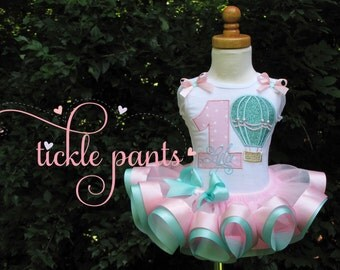 Whimsical Hot Air Balloon Birthday Tutu Outfit- Pink and aqua- Includes top, tutu - Can be made to match your party colors