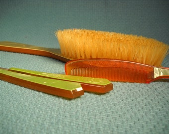 ANTIQUE VANITY SET, Antique Hairbrush Set, Vanity set from the 1950's