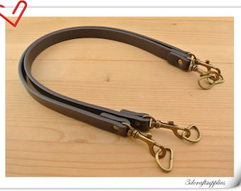 Pair of purse handle leather straps for Bag and purse 23.5 inch 0.75 inch ( 62cmx1.8cm)  Dark brown Z47A
