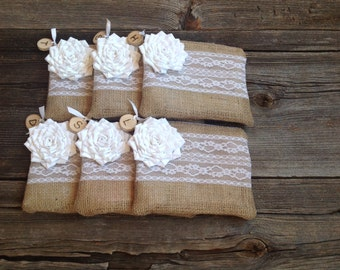 6 Wedding Wood Slice Bags, Rustic Wedding Clutches, Woodland Wedding, Rustic Bridesmaid Gift, Rustic Bride, Burlap and Lace Clutches