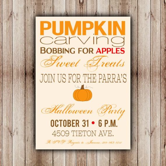 Printable Halloween Invitation, Halloween Party Invite, Pumpkin Carving Invitation