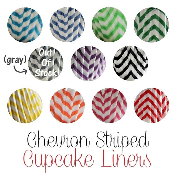 25 Chevron Striped Cupcake Muffin Baking Cups, Cupcake  Liners in 11 Colors Bright and Fun for your Party Celebration