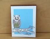 Owl  Thank You cards - set of 8
