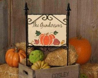 Pumpkin Harvest, personalized slate